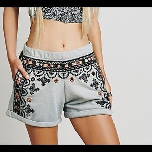 Free People FP One Geneva Embroidered Shorts